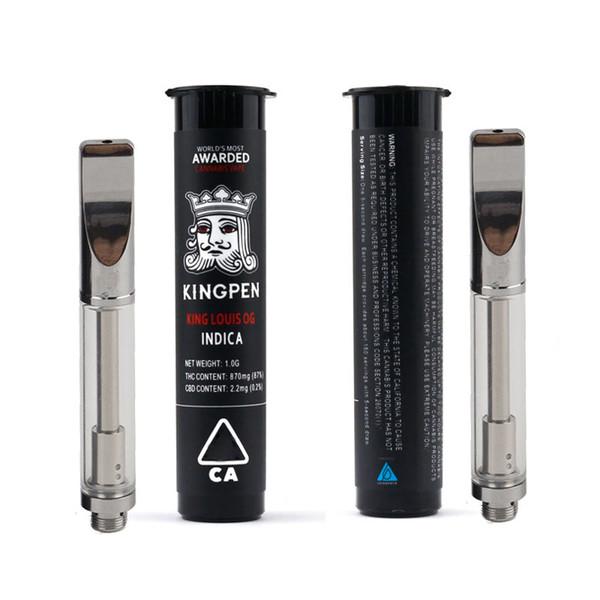 Réservoir d'atomiseur de cartouche d'huile de Kingpen KP 0.5 / 1.0ML Bobines de coton ou de céramique doubles Vaporisateur de stylo de Vape 510 fil pour la batterie de préchauffage