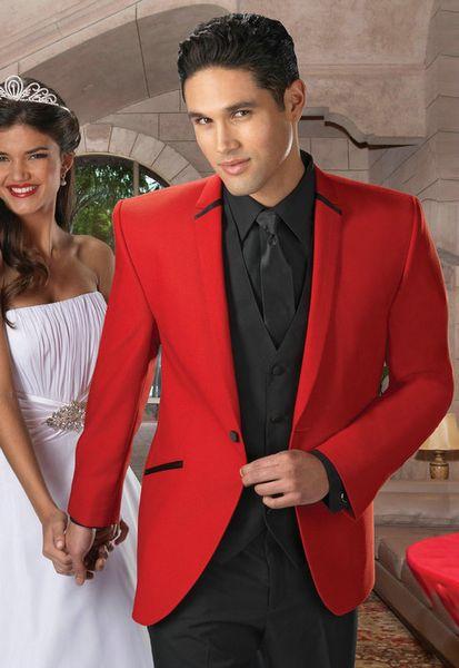 Classic Design Hot Red Groom Tuxedos Notch Lapel One Button Groomsmen Mens Wedding Suits Excellent Man 3 Piece Suit(Jacket+Pants+Vest+Tie)97