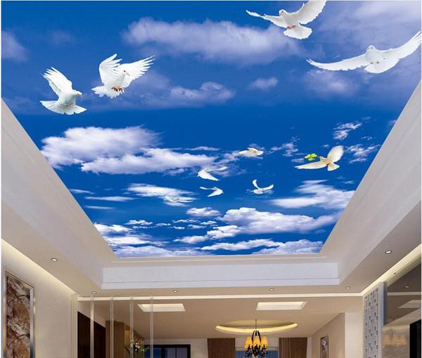 пользовательские 3D обои для потолка голубое небо и белые облака 3D обои нетканые обои гостиной потолок современный дизайн интерьера