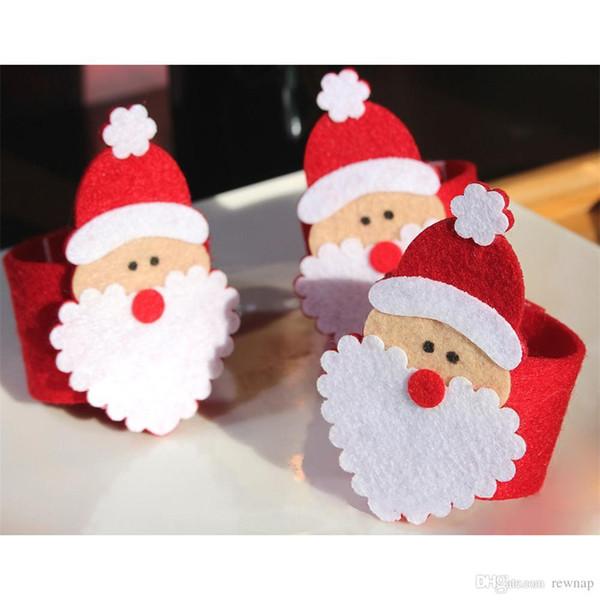 Wholesale- Newly 1PCS Christmas Santa Claus Napkin Ring Serviette Holders Table Decor Restaurant Supplies Red