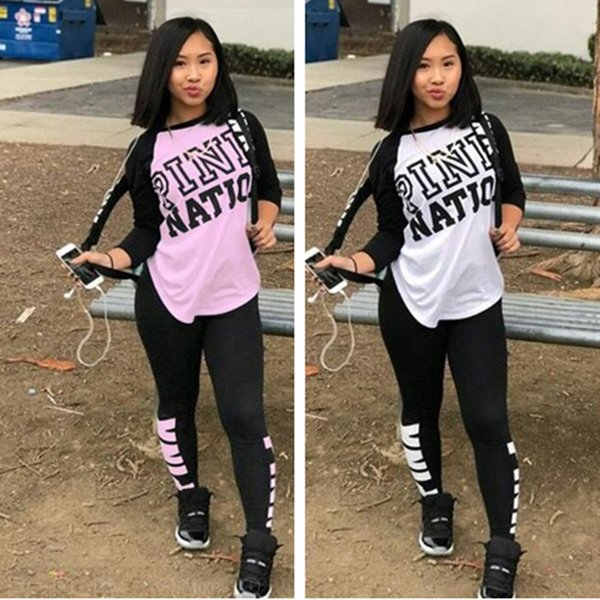 Love Pink Women Tracksuit Autumn Winter Hoodies Sweatshirt Sweater + Trousers Leggings Pants Gym Fitness Outfits Sportswear Sports Suits