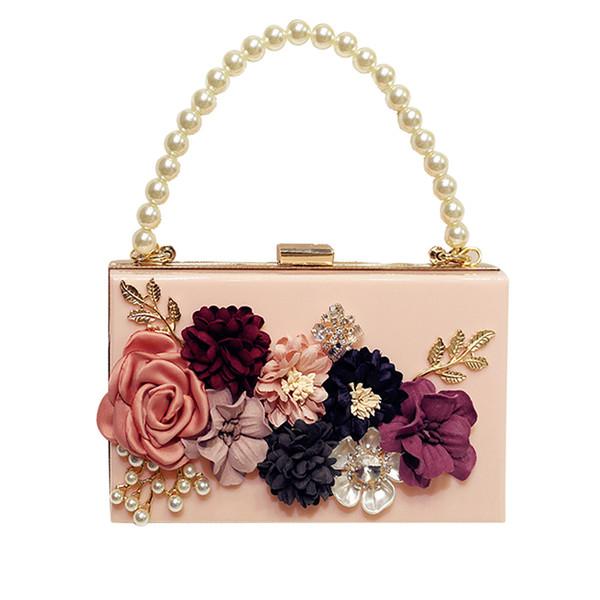 7d9e59291 NOVA designer de mulheres acrílico bolsas femininas feitas à mão flores  pérola cadeia de diamante bolsa