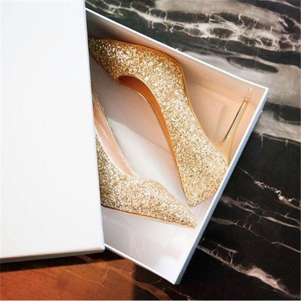 Outono estilo Europeu e Americano nova moda sexy lantejoulas fina de salto alto rasa boca apontou sapatos de casamento do sexo feminino único sapatos