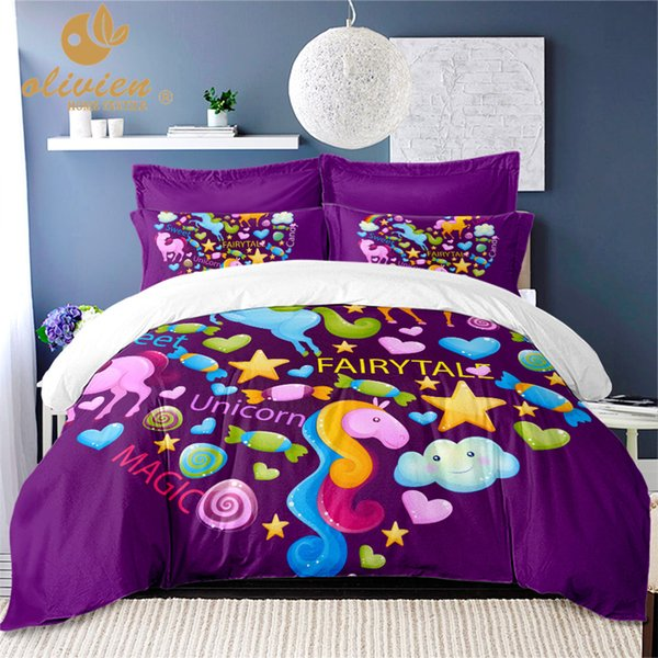 Kids King Size Bedding.Unicorn Bedding Set Purple Duvet Cover Queen For Children King Size Bedding Set Colorful Home Textile Kids Bed Linen 25 Canada 2019 From Goutour Cad