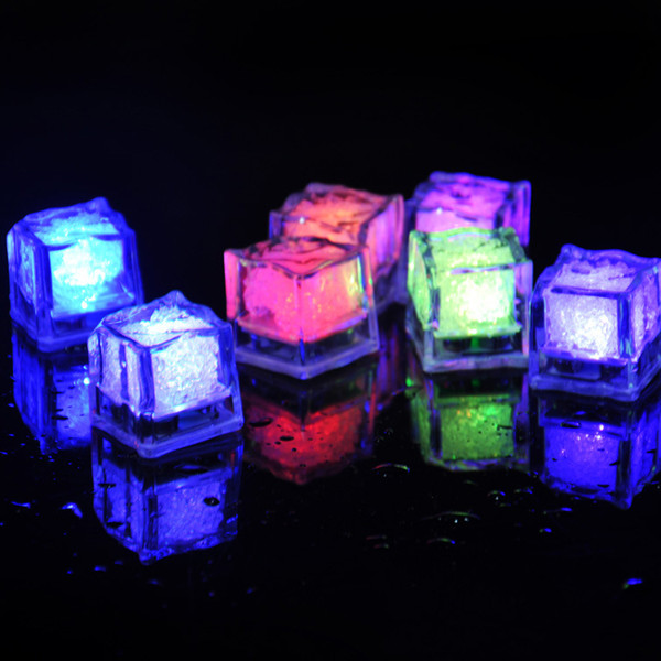 top popular Led ice cube Lights Polychrome Flash Ice Liquid Sensor Glowing Ice Cube Submersible Lights Decor Light Up Bar Club Wedding Party 2020