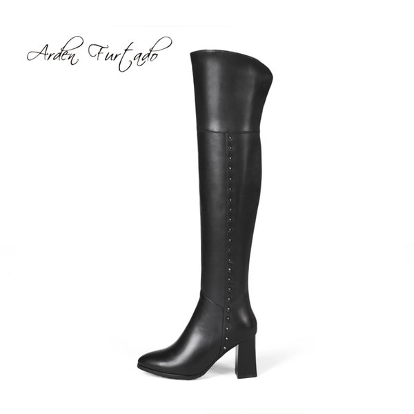 Arden Furtado 2018 spring autumn winter back zipper full leather shoes ladies fashion chunky high heels 8cm over the knee boots
