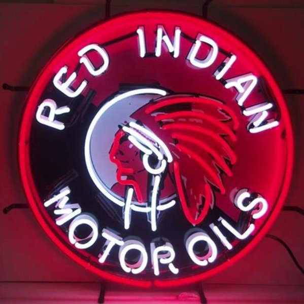 Red Indian Motor Oils Real Glass Neon Sign light Birra Bar Sign Invia bisogno di foto 19x15
