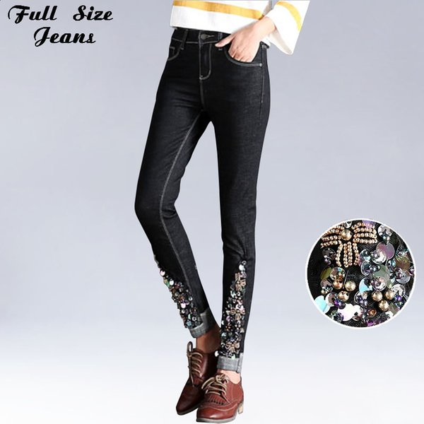 Sexy Slim Beading Rhinestones Floral embroidery Black Skinny Ankle Length Jeans Elastic Women Low Waist Denim Capris Pencil Pant