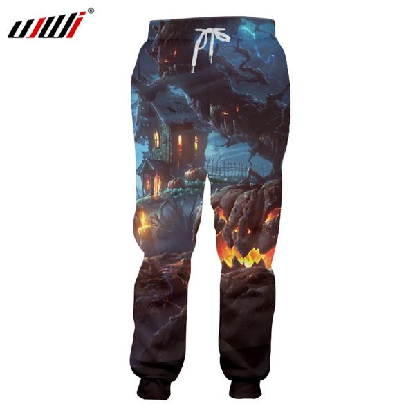 UJWI Halloween Forest Terror Castle Ghost Men's Sweatpants 3D Printed Big Mouth Funny Flame Pumpkin Man Large Size Pants