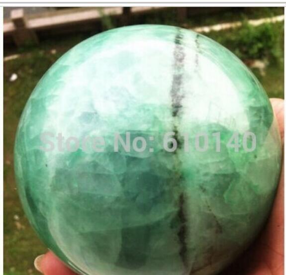 SCY HOT Glow In The Dark Stone crystal Fluorite sphere ball 100mm 1.85KG