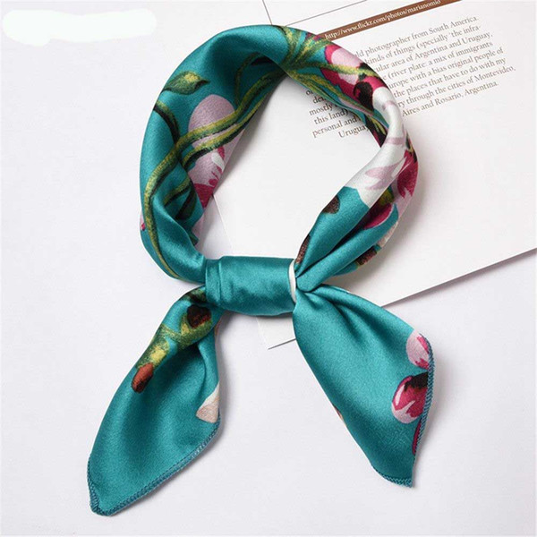 Summer New Fashion Women Vintage Square Scarf Silk Feel Satin Scarf Skinny Elegant Head Neck Hair Tie Band Hair Band 50*50cm