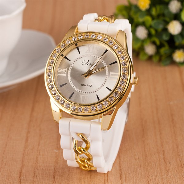 Explosion models silicone chain watch women models Roman numerals inlaid diamonds British table factory direct sales