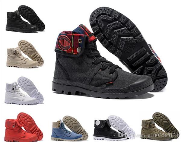 Cor 14 PALLADIUM Pallabrouse Homens de Alta-top Ankle boots Militar Do Exército Tênis de Lona Sapatos Casuais Homem Anti-Slip Sapatos 39-45