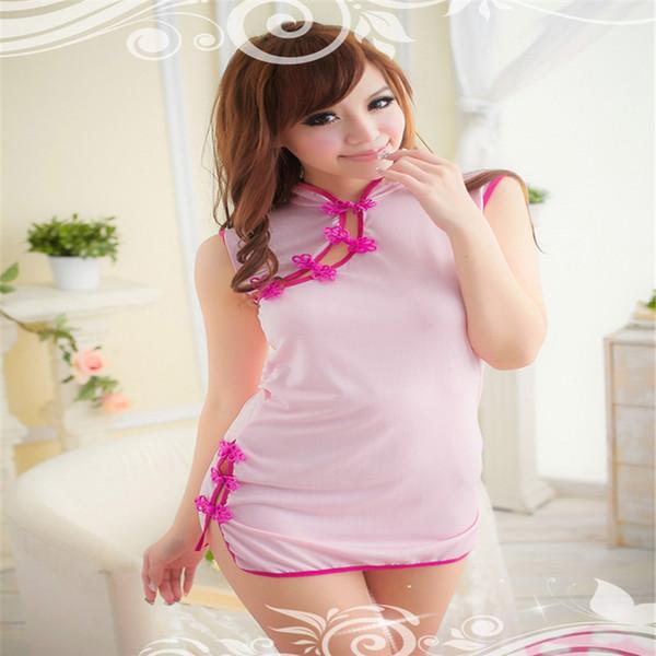 Lingerie sexy dos satin cheongsam rose jeu uniforme col haut sans manches robe courte sex toys
