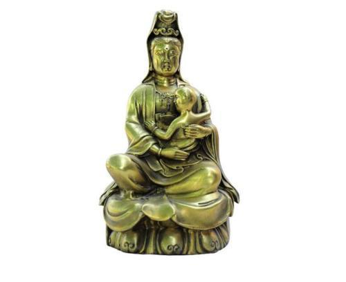 China Buddhism Temple Brass Songzi kwan-yin GuanYin Bodhisattva Buddha Statue