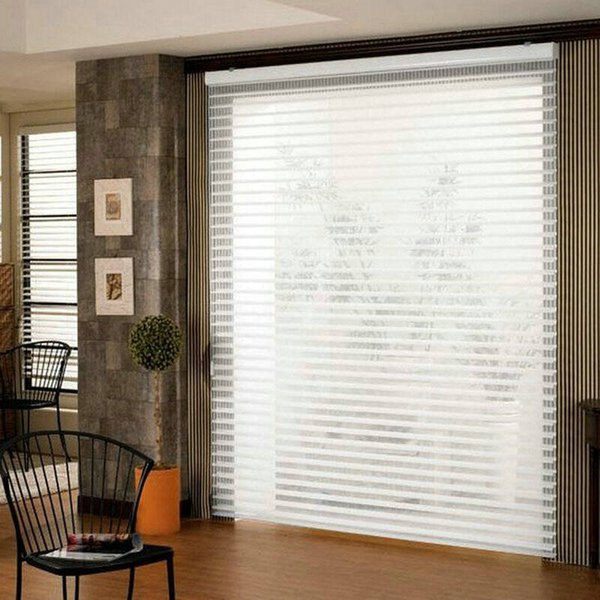 Custom Made Translucent Motorized Shangri-la Blinds in Brown Window Curtains for Living Room 6 Colors