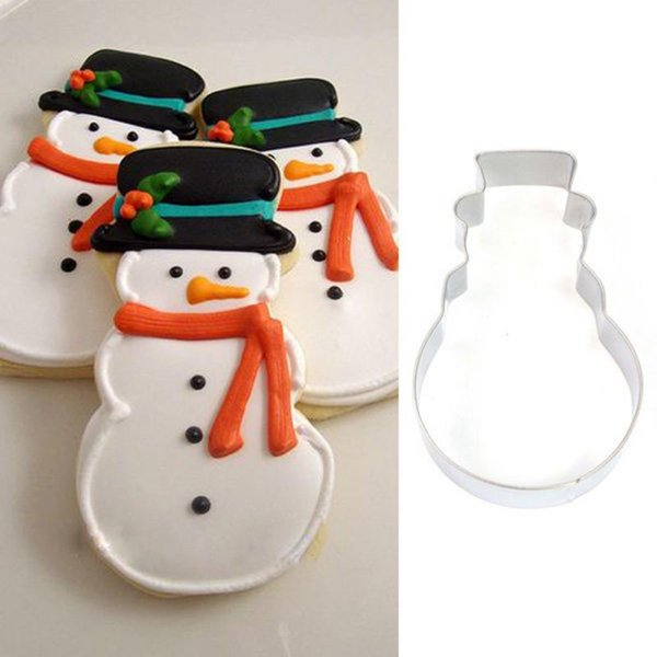 Wholesale- Christmas Snowman Fondant Mould Stainless Steel Cookie Cutter Cake Tool For DIY Candy Biscuit Jelly Pastry Baking Mold
