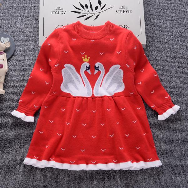 2018 Autumn Winter New Girls Cartoon swan princess dress Kid Baby Sweater Children Clothing Cotton Knitted skirt