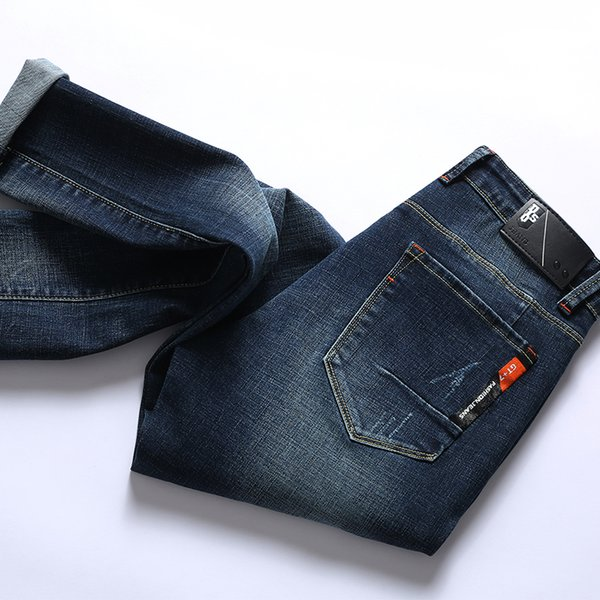 Men Jeans Cotton Thick Classic Stretch Jean Dark Blue Male Denim Long Pants Trousers Autumn Men 32 33 34 36 38 40