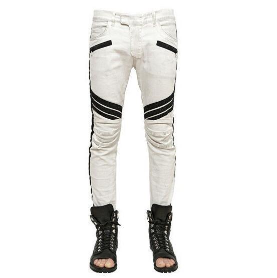 2018 Four Seasons White Riding Jeans Moda Street Pants Pantalones casuales de los hombres Slim Fitness Medias Joggers motocicleta pantalones elásticos