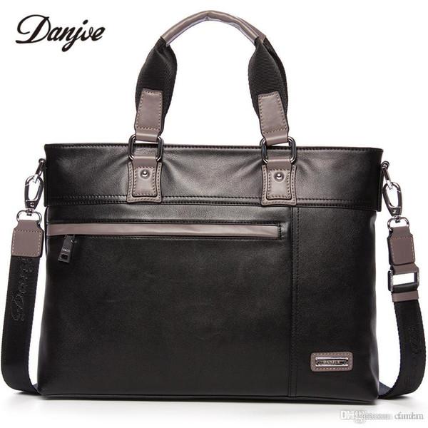 """DANJUE Men Bag Genuine Leather Business Bag Vintage Handbag Men Real Leather Male Briefcase Fashion Men's Laptop 14"""""""