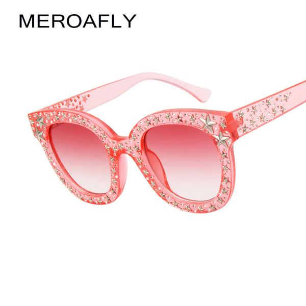 MEROAFLY 2018 Vintage Cat Eye Sunglasses Women Fashion Gradient Black Grey Pink Rhinestone Sun glasses Female Luxury UV400 Party