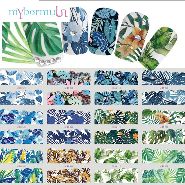 MYBORMULA 1 Big Sheet 12 Design Flower Grass style series Water Transfer Sticker for Nail For DIY Manicure Nail Art Decorations