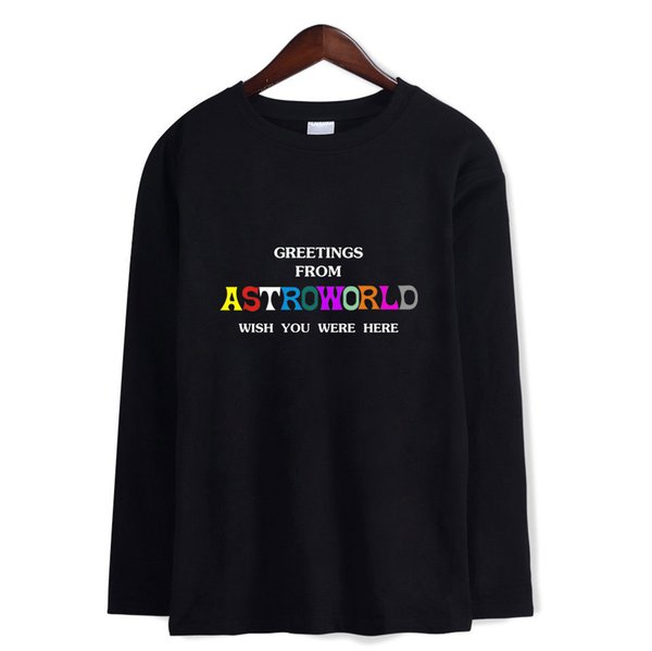 2018 para hombre de la camiseta de verano diseñador Travis Scott AstroWorld manga larga T-shirt Cartas de impresión Negro Blanco Gris