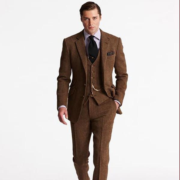 Tweed Fit Personalizada Para Clásica Slim Marrón Hombre Chaqueta De Boda Traje gqvY8Y