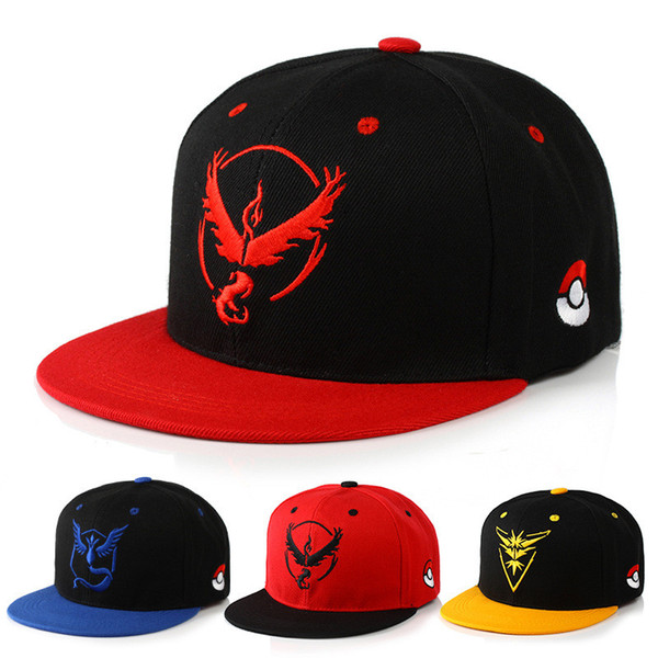 Hot selling Cosplay Mobile game  Go Team Valor Team Mystic Instinct snapback baseball Cap hat for men women KG05