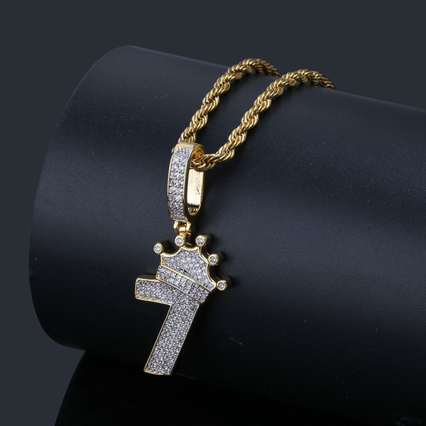 Shiny Crown Number 7 Pendant Necklace Charm With Rope Chain Gold Silver Iced Out Cubic Zircon Men Hip hop Jewelry