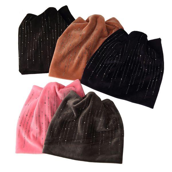 20PCS / LOT SINGYOU Winter Hat for Women Cat Ear Cute Beanie Hats Ladies Velvet Warm Skullies Cap Fashion Rhinestone Bonnet Cap