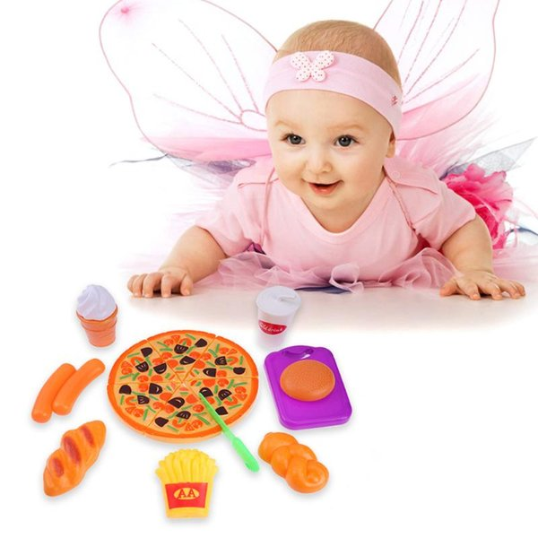 top popular 15pcs Pizza Ham Fries Food Funny Lovely Model Cutting Set Kids Pretend Role Play Kitchen Food Cutting Toys 2021