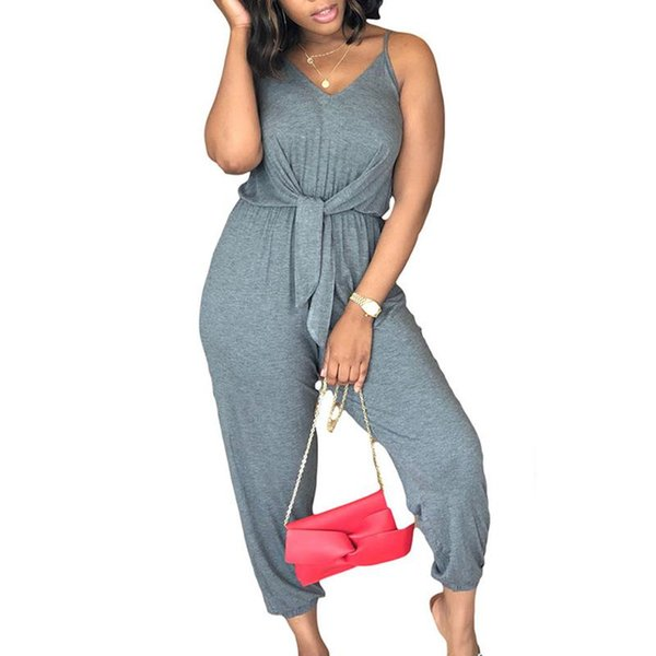 Summer Women Sling Pleated Bandage Fashion Jumpsuit Female Casual Streetwear Solid Color Jumpsuits WS9042A