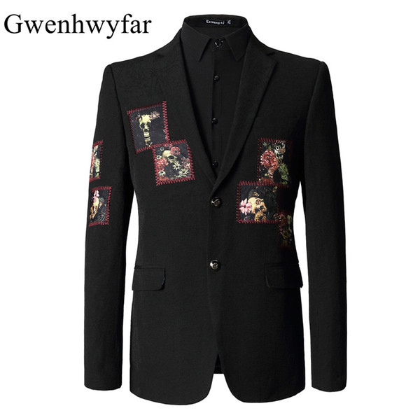 2018 Short Length Pattern Blazer Men Fashion Men's Suit Blazer WIth Patch Casual Men Stage Jakcet Vintage Prom Dress Coat