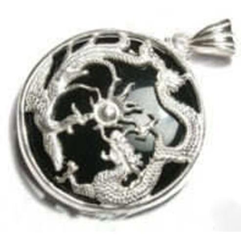 Natürlicher schwarzer Jade silberner Drache Phoenix-Anhänger und Halskette geben Verschiffen frei