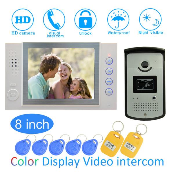 8 '' Color LCD Video de la puerta Teléfono de la casa Dispositivo de mejora del jardín Cable Timbre de la puerta Lanzamiento RFID Desbloqueo de visión nocturna Cámara IR