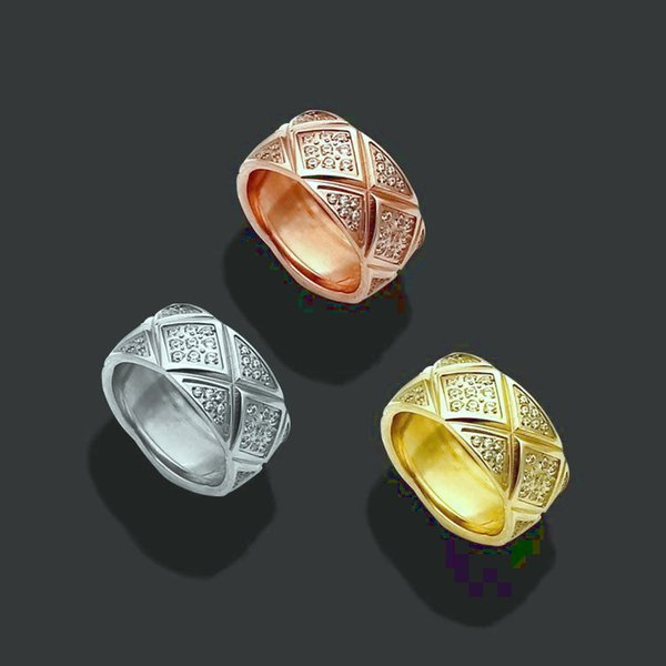 Fashion Lady 316L Titanium steel Carving Rhombus Checked Setting Diamond Wedding Engagement 18K Gold Plated Rings 3 Color Size6-9