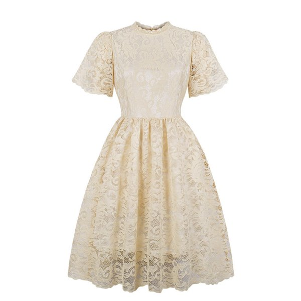 Vintage 70s Womens Lace Hollow Out Dress Elegant Slim A-line Swing Dress Fashion Floral Printed Rockabilly Party Dresses S-XXL