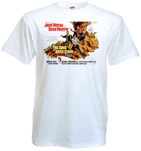 Custom Shirts Short Men The Sons Of Katie Elder Ver.2 T-Shirt White Movie Poster All Sizes S To 3XL O-Neck Fashion 2018 Tees