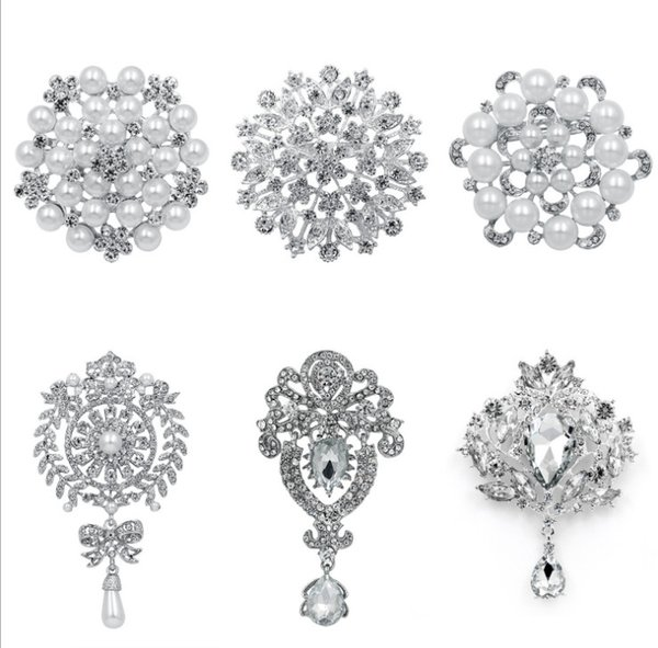 6pcs/set Fashion Women Large Brooches Lady Imitation Pearls Rhinestones Crystal Wedding Brooch Pin Jewelry Accessorise