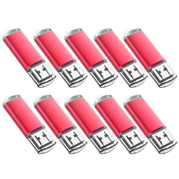 Red Bulk 200PCS 32GB USB 2.0 Flash Drive Rectangle Thumb Pen Drives Flash Memory Stick Storage for Computer Laptop Tablet Macbook U Disk