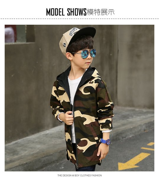 Boy Hoodies Children Double-side Wear Parka 2018 Spring Teenager Boys Camouflage Jacket Outwear Kids Coat Baby Boys Clothing