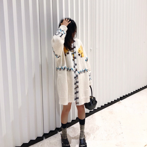 Tide brand little squirrel sweater female 2018 cardigan in the long section loose mohair thick line jacket long-sleeved sweater
