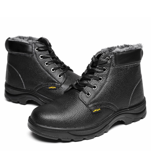 Winter Safety Boots For Men Leather Work Safety Shoes Steel Toe Puncture-proof Military Boots Warm Waterproof tooling Shoes Size 35-46