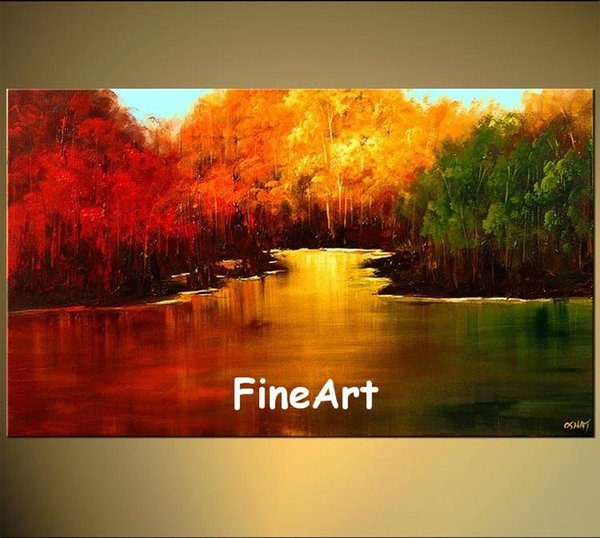 100% hand painted discount modern landscape oil painting canvas red yellow green acrylic painting on canvas art nature painting decoration h