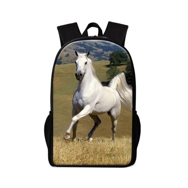 Dispalang White Horse School Backpack for Girls Cool Animal Prints Book Bag Primary Students Bagpack Boys Day Pack Mochilas Kids