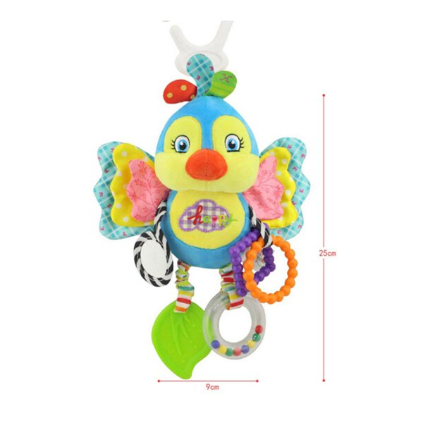 Cute butterfly rabbit duck bird baby kids stroller bed around hanging bell rattle activity soft toy outer baby plush toy Hot Sale 2018