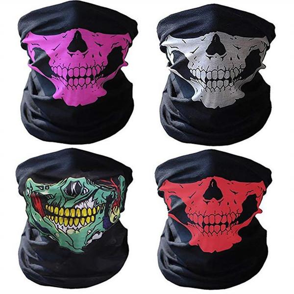 best selling Skull Half Face Mask Tube Half Face Mask Halloween Skull Bandana Headband skeleton Bicycle Headwear Snowboard Headscarf Multi Function