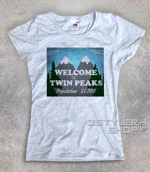женская ФУТБОЛКА Twin Peaks SIGN BENVENUTO WELCOME Бобслей Купер Laura Palmer2018 Лето Новый Бренд 100% Хлопок Классическая футболка